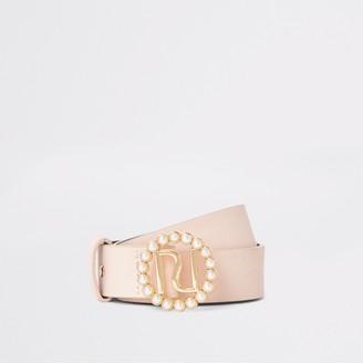 River Island Girls Pink pearl buckle belt