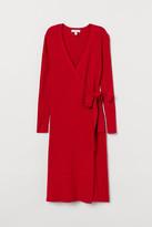 H&M Rib-knit Wrap Dress - Red