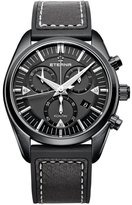 Eterna Men's KonTiki 42mm Black Leather Band IP Steel Case Sapphire Crystal Quartz Watch 1250-43-41-1308