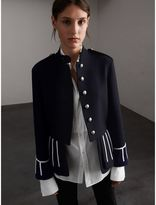 Burberry Cord Detail Wool Military Jacket