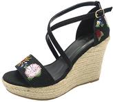Wild Diva Black Floral Maegan Espadrille