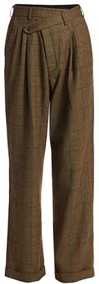 R 13 Triple Pleat Plaid Wool Crossover Trousers