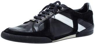 Christian Dior Black/White Leather and Suede Lace Low Top Sneakers Size 43.5