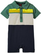 Tea Collection Pinocchio Polo Romper (Baby) - Pine - 6-12