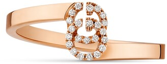 Gucci GG ring in rose gold with diamonds