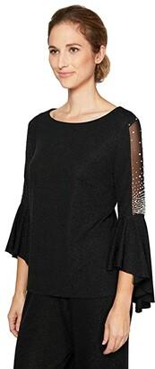 Alex Evenings 3/4 Sleeve Metallic Knit Blouse (Black) Women's Clothing