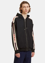 Gucci Striped Technical Jersey Hooded Sweater In Black