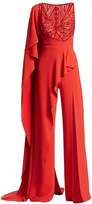 ZUHAIR MURAD Embellished V-Neck Cape Jumpsuit