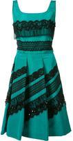 Oscar de la Renta lace appliqué pleated dress - women - Silk - 12