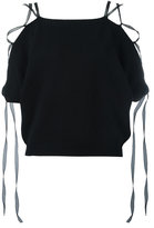 Valentino lace-up knitted top - women - Silk/Cashmere - M