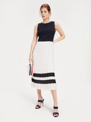 Tommy Hilfiger Colour-Blocked Pleated Midi Dress