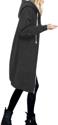 YEBIRAL Autumn Fashion Casual Women Warm Pocket Zipper Open Hoodies Sweatshirt Long Coat Jacket Tops Outwear Gray