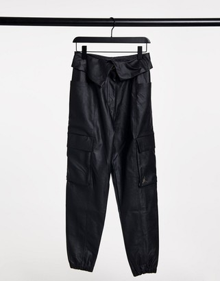 Jordan PU trousers with turned down waist in black