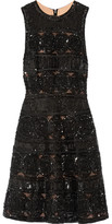 Elie Saab Embellished Tulle Mini Dress - Black