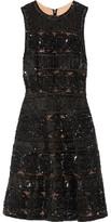 Elie Saab Embellished Tulle Mini Dress - Black