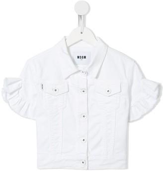 Msgm Kids Short-Sleeve Ruffle-Cuff Denim Jacket