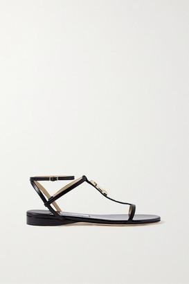 Jimmy Choo Alodie Logo-embellished Leather Sandals - Black