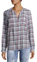 Joie Aleta Cotton Plaid Casual Button-Down Shirt