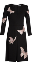 Alexander McQueen Moth-embroidered V-neck crepe dress