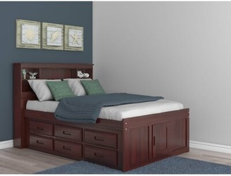 Birch Lane Fulvia Platform Bed with Bookcase and 12 Drawers Heritage Bed Frame Color: Merlot, Size: Full