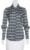 Rachel Zoe Abstract Print Cutout-Accented Top