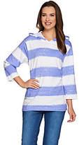 Denim & Co. Painterly Stripe Oversized KnitHoodie