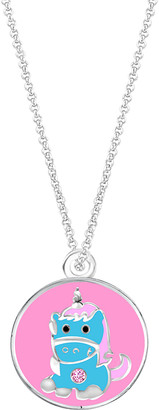 Swarovski My Very Own Jewels Girls' Necklaces - Pink & Blue Oval Unicorn Pendant Necklace With Crystals