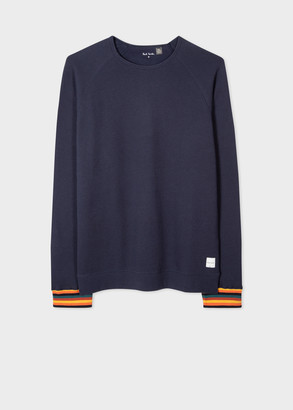 Paul Smith Men's Navy Jersey Cotton Long-Sleeve Top With 'Artist Stripe' Cuffs
