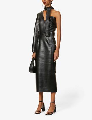 MATÉRIEL Asymmetric faux-leather midi dress