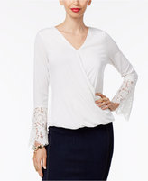 Thalia Sodi Lace-Sleeve Faux-Wrap Top, Only at Macy's