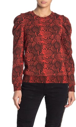 Pam And Gela Snake Print Puff Shoulder Sweatshirt