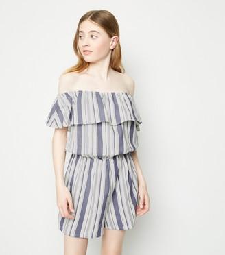 New Look Girls Stripe Linen Blend Playsuit