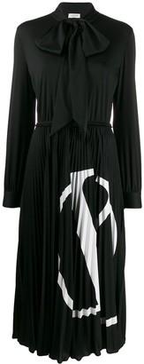 Valentino VLOGO pleated long-sleeved dress