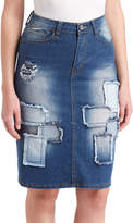 Be Girl Indigo Wash Distressed Patchwork Denim Skirt