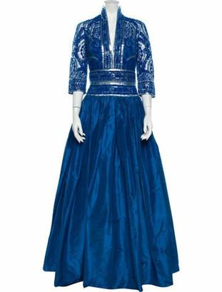 Naeem Khan V-Neck Long Dress Blue