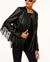 INC International Concepts Anna Sui Loves Leather-Fringe Jacket, Created for Macy's