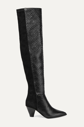 Aquazzura Shoreditch 70 Snake-effect Leather And Suede Over-the-knee Boots - Black