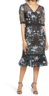 Marchesa Notte Floral Embroidered Midi Cocktail Dress