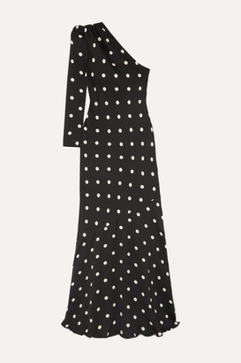 Rebecca Vallance Penelope One-shoulder Polka-dot Crepe Maxi Dress - Black