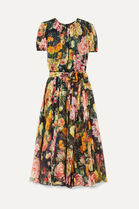 Dolce & Gabbana Belted Floral-print Silk-chiffon Midi Dress - Black
