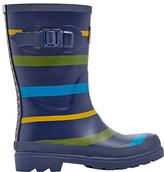 Joules Little Joule Children's Multi Stripe Wellington Boots, Navy/Multi