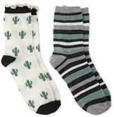 Charlotte Women's 2 Pack Crew Sock - Cactus & Stripe - Ivory Combo One Size Fits Most