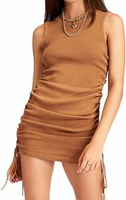 Miaouyo Womens Side Drawstring Short Dress Sleeveless Camisole Bodycon Stretchy Mini Tank Ruched Dress Party Club Street Wear (Black L)