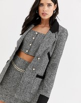 Fashion Union boucle tailored blazer co-ord with contrast collar and cuff