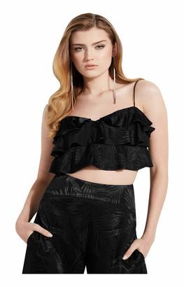 GUESS Women's Desta Sleeveless Ruffle Crop Top
