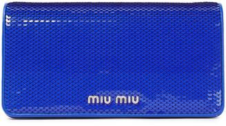 Miu Miu Sequined Leather Clutch