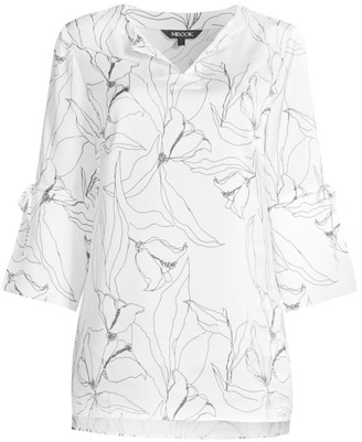 Misook Abstract Floral Tie-Sleeve Tunic