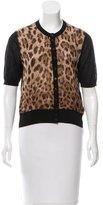 Dolce & Gabbana Leopard Print Silk-Blend Cardigan