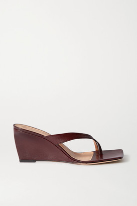 BY FAR Theresa Leather Wedge Mules - Merlot