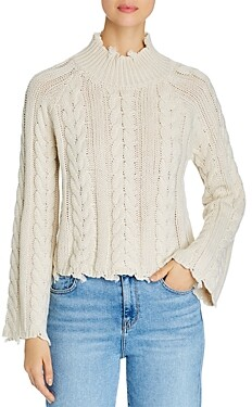 Elan International Distressed Cable Knit Sweater